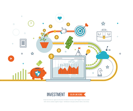 financial growth: Flat design illustration concepts for business analysis and planning, financial strategy. Investment business. Investment growth. Business protection. Strategy for successful business. Illustration