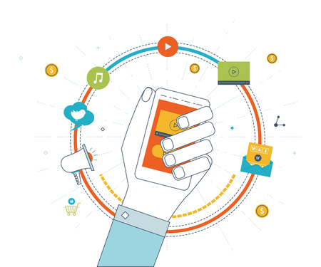 mobile marketing: Digital and mobile marketing concept. Social network. Online shopping. Shopping basket. Investment business. Strategy for successful business. Color line icons