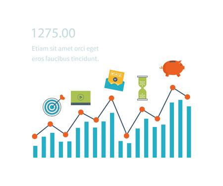Flache Linie Design-Konzept für Investitionen, Finanzen, Banken, Marktdatenanalyse, strategisches Management. Strategie für ein erfolgreiches Geschäft. Das Investitionswachstum. Anlagegeschäft. Investitionsmanagement.