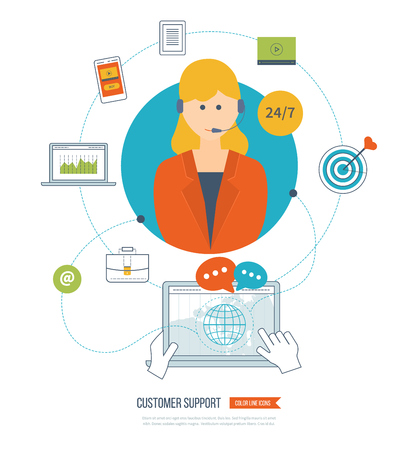 Business customer care service concept flat icons. Feedback. Technical support assistant. Woman support operator.