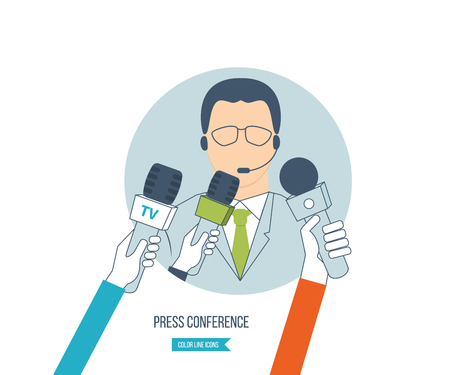 live: Businessman giving an interview in the presence of journalists with microphones. Press conference and live news. Reporter and news interviews