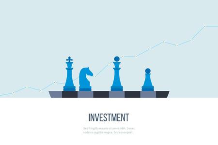 estrategia: línea concepto de diseño plano para la inversión, las finanzas, la banca, el análisis de datos de mercado, la gestión estratégica. Vectores
