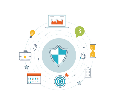 investment security: Flat shield icon. Data protection and safe work. Data safety.  Internet and information security. Investment security.  Thin line icons. Stock Photo