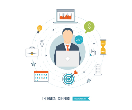 consultant: Technical support flat illustration.