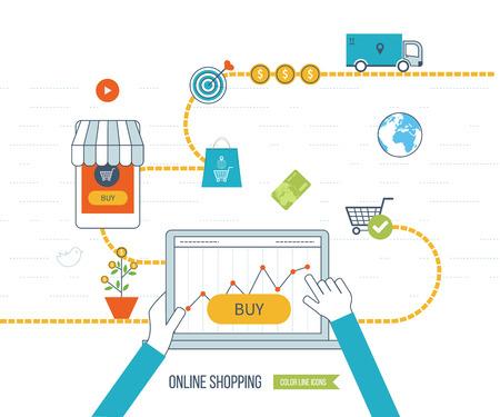 concept de marketing mobile. Réseau social.