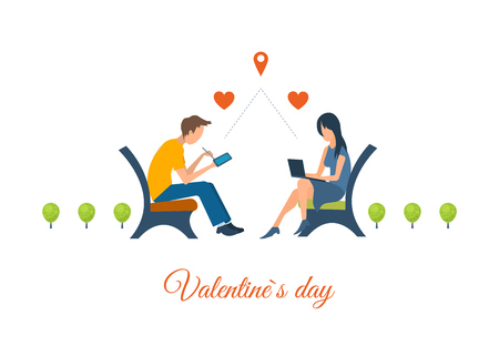 dating: Boy and girl talking on the internet. Online communication. Meeting love couple. Valentine Day postcard. Valentines day greeting letter. Valentines Day gift card. Invitation card for wedding.