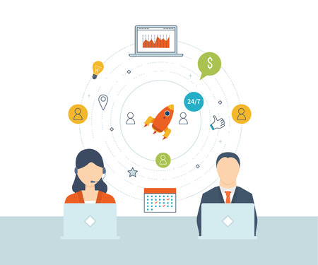 marketing research: Concept of consulting services, project management, time management, marketing research, strategic planning. Technical support. Investment growth. Investment management. Flat vector illustration