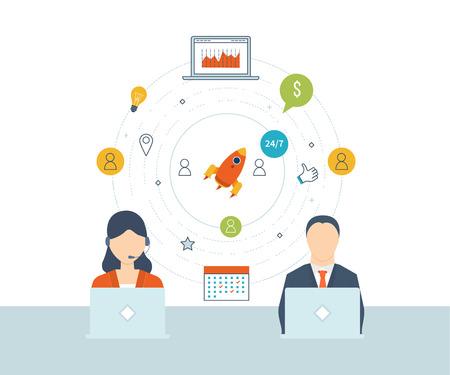 planificacion estrategica: Concepto de servicios de consultoría, gestión de proyectos, gestión del tiempo, la investigación de mercados, planificación estratégica. Soporte técnico. Crecimiento de la inversión. Gestión de inversiones. ilustración vectorial plana