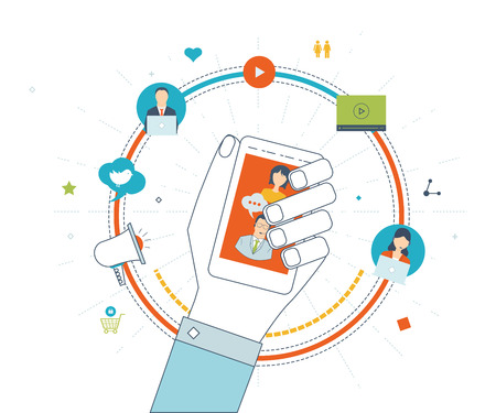 strategic advantage: Set of flat design vector illustration concepts for business strategy, communication, social network and mobile marketing. Online shopping. Color line icons. Icon man holding a smartphone in hand. Illustration