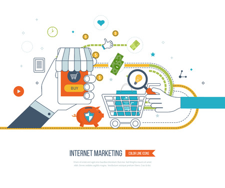 shopping cart: Internet and mobile marketing concept. Social network. Online shopping. Shopping basket. Investment business. Strategy for successful business. Business protection. Mobile banking. Color line icons