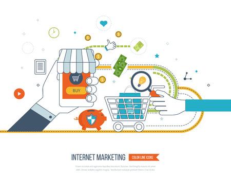 Internet y el concepto de marketing móvil. Red social. Las compras en línea. Cesta de la compra. negocio de inversión. Estrategia para el éxito empresarial. Protección del asunto. La banca móvil. iconos de líneas de color