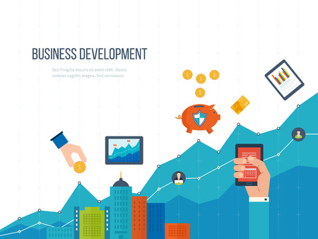 Flat design illustration concepts for business development and planning, teamwork, financial report and strategy. Investment business. Investment growth. Investment management. Vettoriali