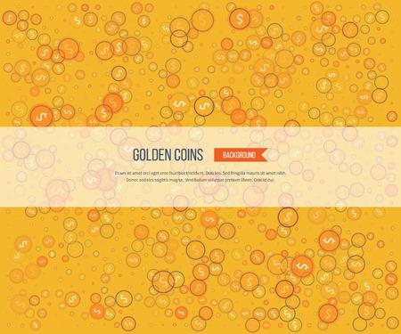 golden coins: Golden coins on yellow background. Gold glitter background.