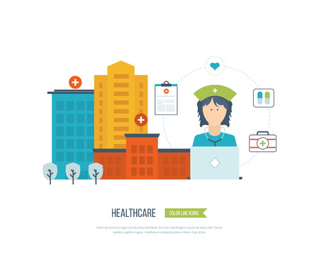 healthcare worker: Vector illustration concept for healthcare, medical help and research. Online medical diagnosis and treatment. Medical first aid. Healthcare worker. Medical center and hospital building Illustration