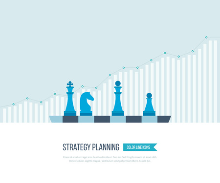 strategic management: Flat line design concept for investment, strategy planning, finance, market data analytics, strategic management. Strategy for successful business. Investment growth. Strategy business. Strategy concept. Illustration