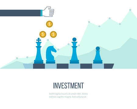 business marketing: Flat line design concept for investment, finance, banking, market data analytics, strategic management. Strategy for successful business. Investment growth. Investment business. Investment management. Illustration