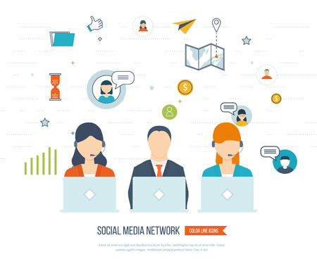Communication strategy: Social network and teamwork concept. Teamwork and communication. Social worker. Online communication and social media concept. Strategy for successful business. Color line icons