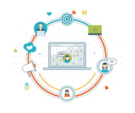 social worker: Social network and teamwork concept. Teamwork and communication. Social worker. Online communication and social media concept. Strategy for successful business. Color line icons