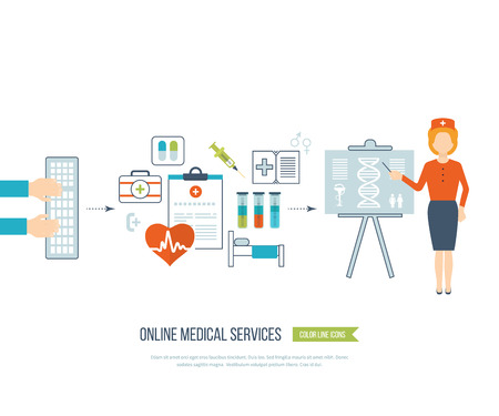 medical treatment: Vector illustration concept for healthcare, medical help and research. Online medical diagnosis and treatment. Medical first aid. Online medical services. Healthcare worker. Online medical services.