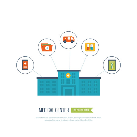 media technology: Vector illustration concept for healthcare, medical help and research. Online medical diagnosis and treatment. Medical first aid. Healthcare worker. Medical center and hospital building Illustration