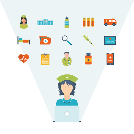 healthcare worker: Vector illustration concept for healthcare, medical help and research. Online medical diagnosis and treatment. Medical first aid. Online medical services. Healthcare worker
