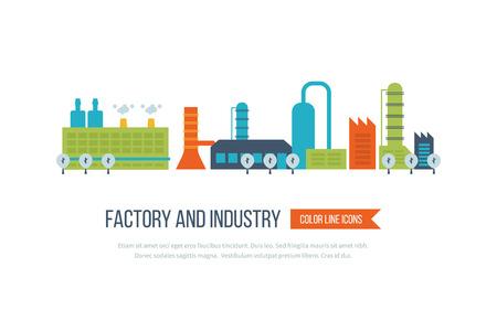 plantas de fábrica de edificios industriales y de potencia conjunto de iconos ilustración vectorial aislado. concepto de paisaje urbano