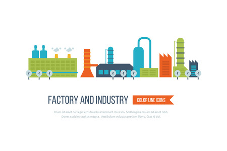 edificio industrial: plantas de fábrica de edificios industriales y de potencia conjunto de iconos ilustración vectorial aislado. concepto de paisaje urbano Vectores