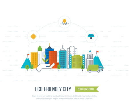 eco energy: Green eco city and eco-friendly city concept. Modern energy safety. Ecology concept, city eco. Flat green energy, ecology, eco, clean planet, urban landscape and industrial factory buildings concept