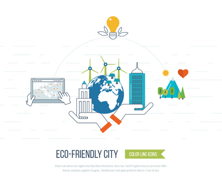 Green eco city and eco-friendly city concept. New energy type. Modern energy safety. Ecology concept, city eco Vettoriali