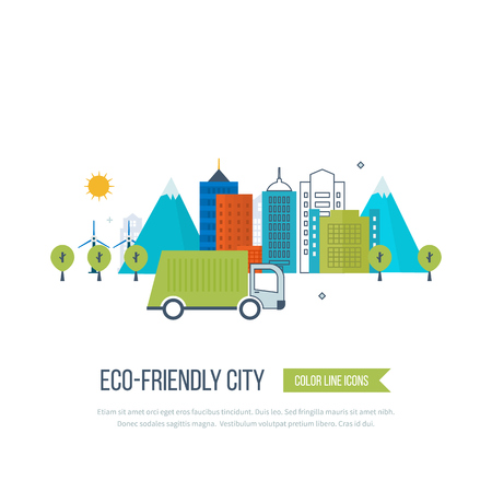 clean energy: Green eco city and eco-friendly city concept. Modern energy safety. Ecology concept, city eco. Flat green energy, ecology, eco, clean planet, urban landscape and industrial factory buildings concept