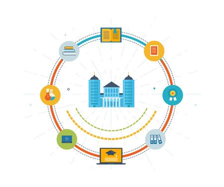 colegios: diseño moderno plano ilustración vectorial conjunto de iconos de la educación en línea y e-learning. curso en línea de las universidades y colegios propone vídeo bajo demanda, foro, comunicación. iconos de líneas de color