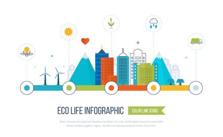 Green eco city and eco life infographic. Modern energy safety. Ecology concept, city eco. Flat green energy, eco, clean planet, urban landscape and industrial factory buildings concept.  イラスト・ベクター素材