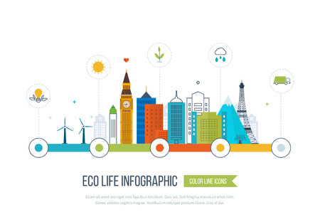 Green eco city and eco life infographic. Modern energy safety. Ecology concept, city eco. Flat green energy, eco, clean planet, urban landscape and industrial factory buildings concept. Vettoriali