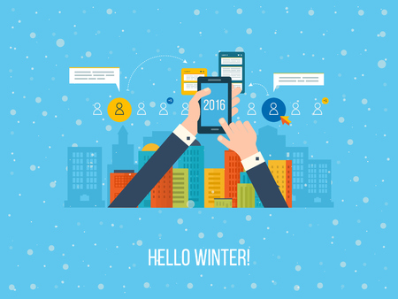 happy business team: Winter landscape. Winter town. Happy new year. Flat design illustration concepts for business analysis and planning, consulting, team work, project management and development. Illustration