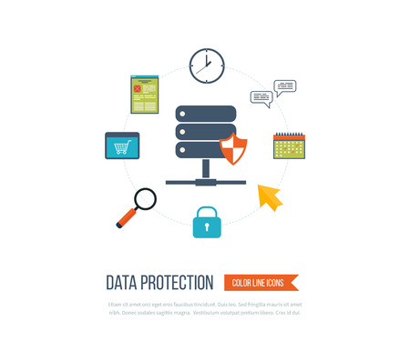 internet protection: Data protection and safe work. Data safety. Internet security. Investment security. Information security.  Thin line icons.