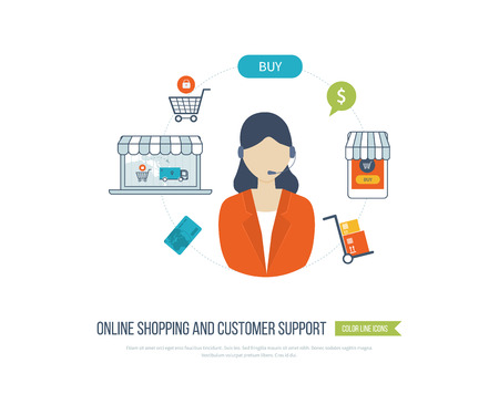 product range: Mobile marketing and online shopping. Full circle of online-shopping with mail menu of wide range products, product research, basket, pay per click, call center, customer support, delivery. Illustration
