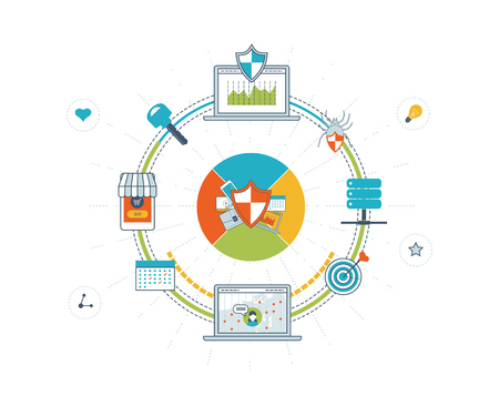Data protection and safe work. Data safety. Internet security. Investment security. Information security.  Virus protection concept.  Mobile marketing and security online shopping. Color line icons Illustration