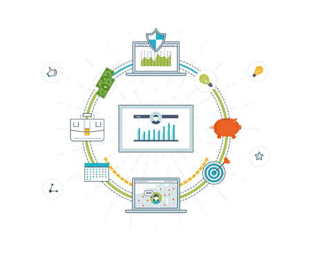 Concepts for business analysis and planning, financial strategy, financial report, consulting, teamwork, project management and development. Investment business. Investment growth. Color line icons