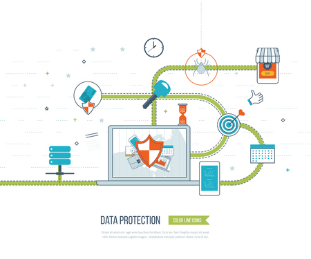 e systems: Data protection and safe work. Data safety. Internet security. Investment security. Information security.  Virus protection concept.  Mobile marketing and security online shopping. Color line icons Illustration