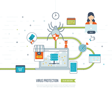 investment security: Data protection and safe work. Data safety. Internet security. Investment security. Information security.  Virus protection concept. Color line icons
