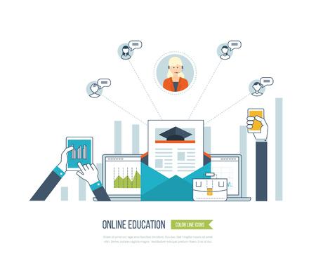 strategic management: Concept for investment, strategy planning, finance, market data analytics, strategic management. Online training courses for investment. Investment growth. Strategy business. E-learning. Illustration