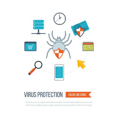 seguridad social: Conjunto de diseño de ilustración vectorial conceptos planas para la protección de datos, trabajo seguro y protección contra virus. Conceptos para la web banners y materiales impresos. iconos de líneas de color