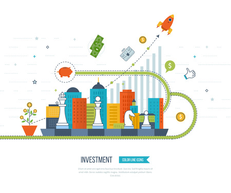 urban planning: Flat line design concept for smart investment, finance, banking, market data analytics, strategic management, financial planning. Business diagram graph chart. Investment growth. Property investment Illustration