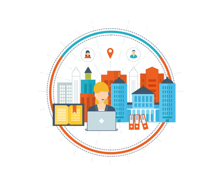 specialization: Vector illustration icons set of online education and online training courses, specialization, university, tutorials. School and university building icon. Technical support concept. Urban landscape.