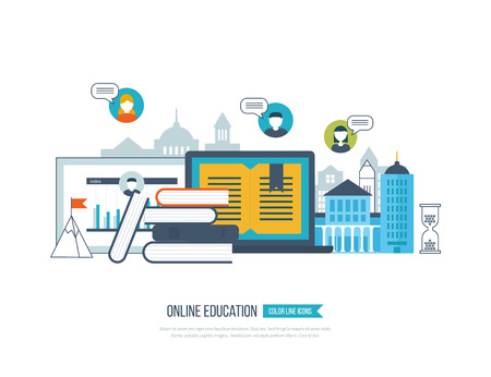 training courses: Concept of online education, online training courses, university, tutorials. School and university building icon. Investment in education. Strategy of successful learning. Urban landscape. Illustration