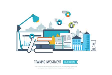 Concept de l'éducation en ligne, des cours de formation en ligne, l'université, des tutoriels. École et bâtiment de l'université icône. L'investissement dans l'éducation. Stratégie d'apprentissage réussi. Paysage urbain.
