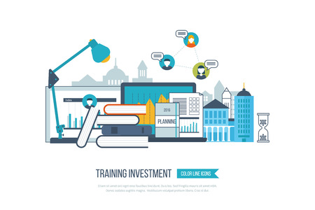 Concept of online education, online training courses, university, tutorials. School and university building icon. Investment in education. Strategy of successful learning. Urban landscape. Vettoriali