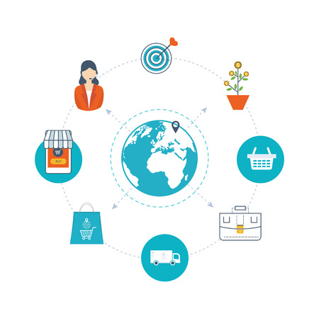 mobile marketing: Mobile marketing concept. Online shopping. Shopping basket. Investment business. Strategy for successful business. Mobile banking. Delivery service. Color line icons Illustration