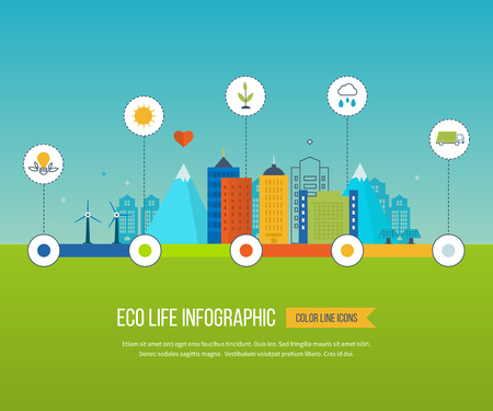 green buildings: Green eco city and eco life infographic. Modern energy safety. Ecology concept, city eco. Flat green energy, eco, clean planet, urban landscape and industrial factory buildings concept. Illustration