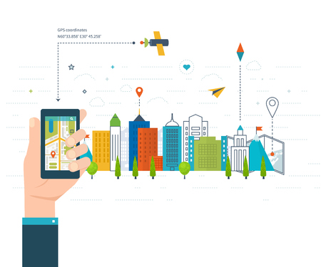 navigation icons: illustration concept of  holding smart-phone with mobile navigation. Flat design modern illustration icons set of urban landscape and city life. Mobile navigation map. Building icon. Illustration